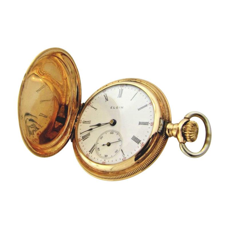 "Image of ""Elgin 14K Yellow Gold Hunter Case Womens Pocket Watch"""