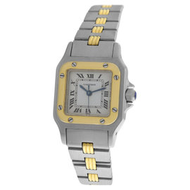Cartier Santos Stainless Steel & 18K Yellow Gold Rare Triple Gadron Automatic Womens 24mm Watch