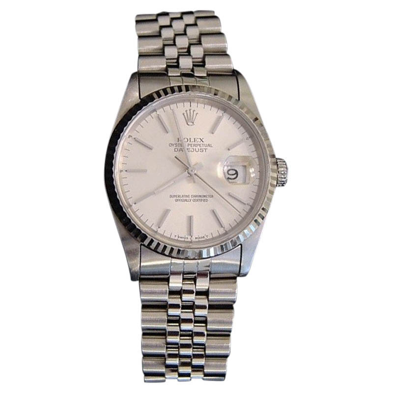 """Image of """"Rolex Datejust 16234 Stainless Steel/18K White Gold Quickset Jubilee"""""""