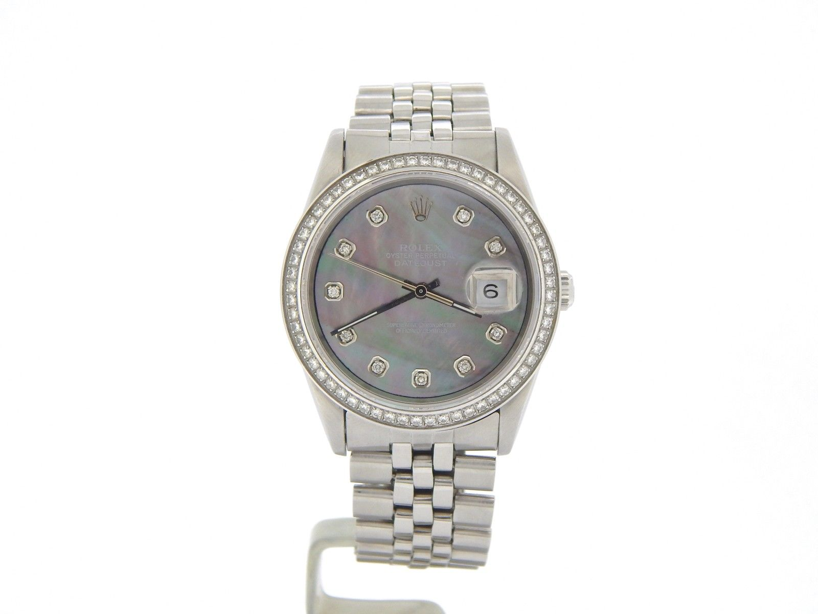 """Image of """"Rolex Datejust 1603 Stainless Steel With Tahitian Mother Of Pearl 1ct"""""""