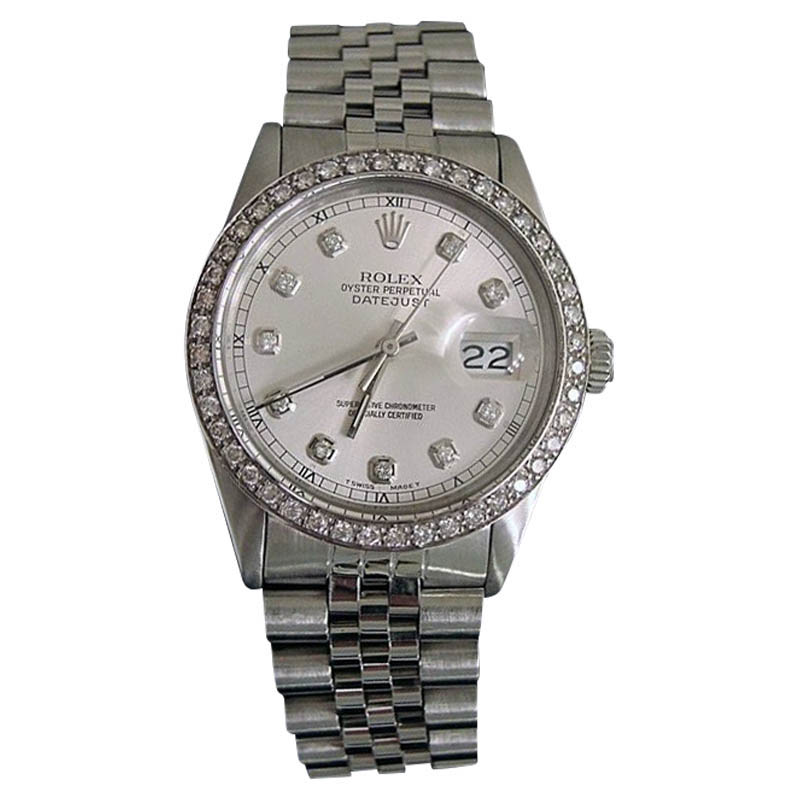"Image of ""Rolex Datejust 16030 Stainless Steel With Silver 1.00ct Diamond Dial &"""