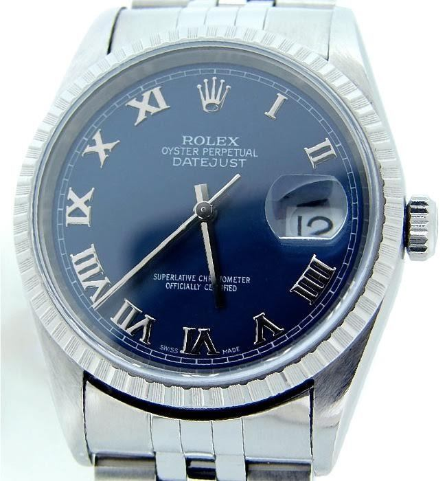 "Image of ""Rolex Datejust Stainless Steel With Jubilee Blue Roman Dial 36mm 16220"""