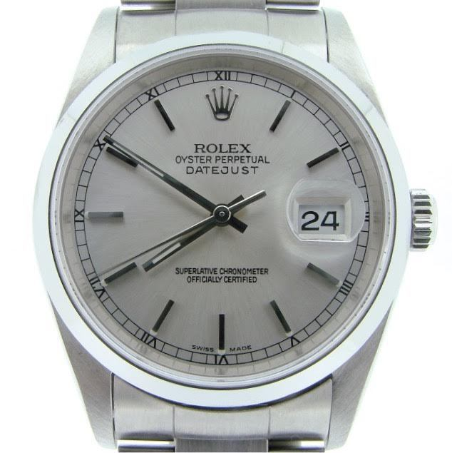 """Image of """"Rolex 16200 Stainless Steel Datejust w/Oyster Band Silver Dial Watch"""""""