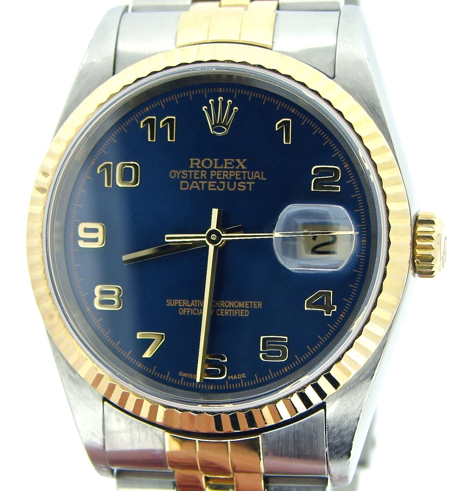 "Image of ""Rolex 16233 Two Tone 18K Gold/Stainless Steel Datejust Blue Arabic"""