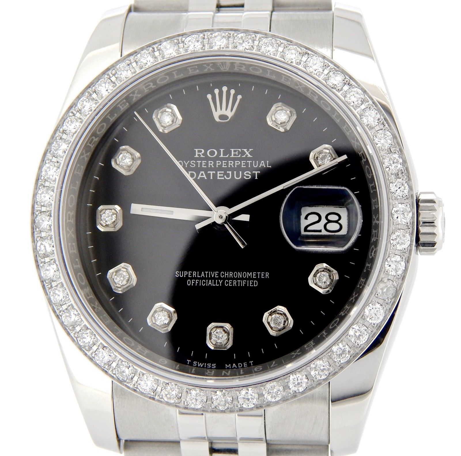 "Image of ""Rolex 116200 Stainless Steel Datejust w/Black Diamond Dial & 1.40ct"""