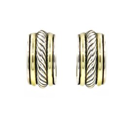 David Yurman 925 Sterling Silver & 14K Yellow Gold Cable Classics Small Hoop Earrings