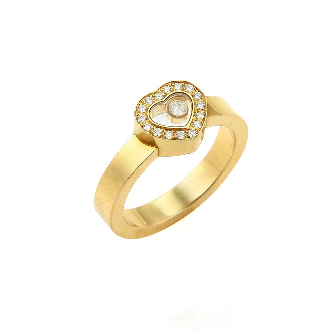 """Image of """"Chopard 18K Yellow Gold & Diamond Heart Ring Ring Size 7"""""""