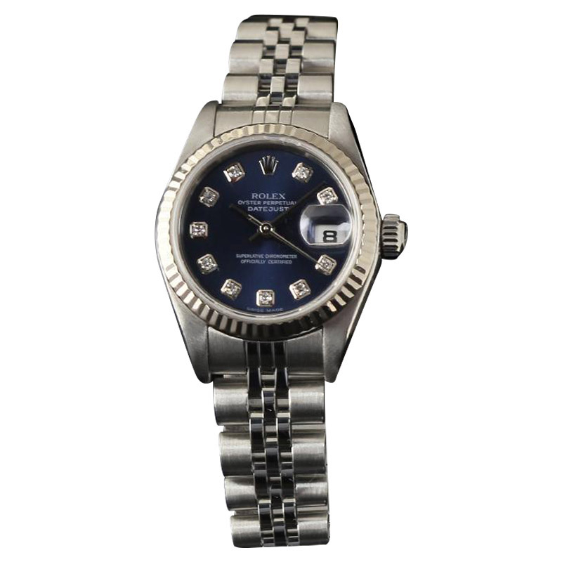 "Image of ""Rolex Datejust 79174 Steel & Gold Blue Diamond Steel Automatic Womens"""