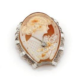 14K White Gold Diamond Cameo Filigree Brooch Pendant