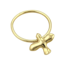 Tiffany & Co. 18K Yellow Gold Dove Drop Charm Band Ring Size 4