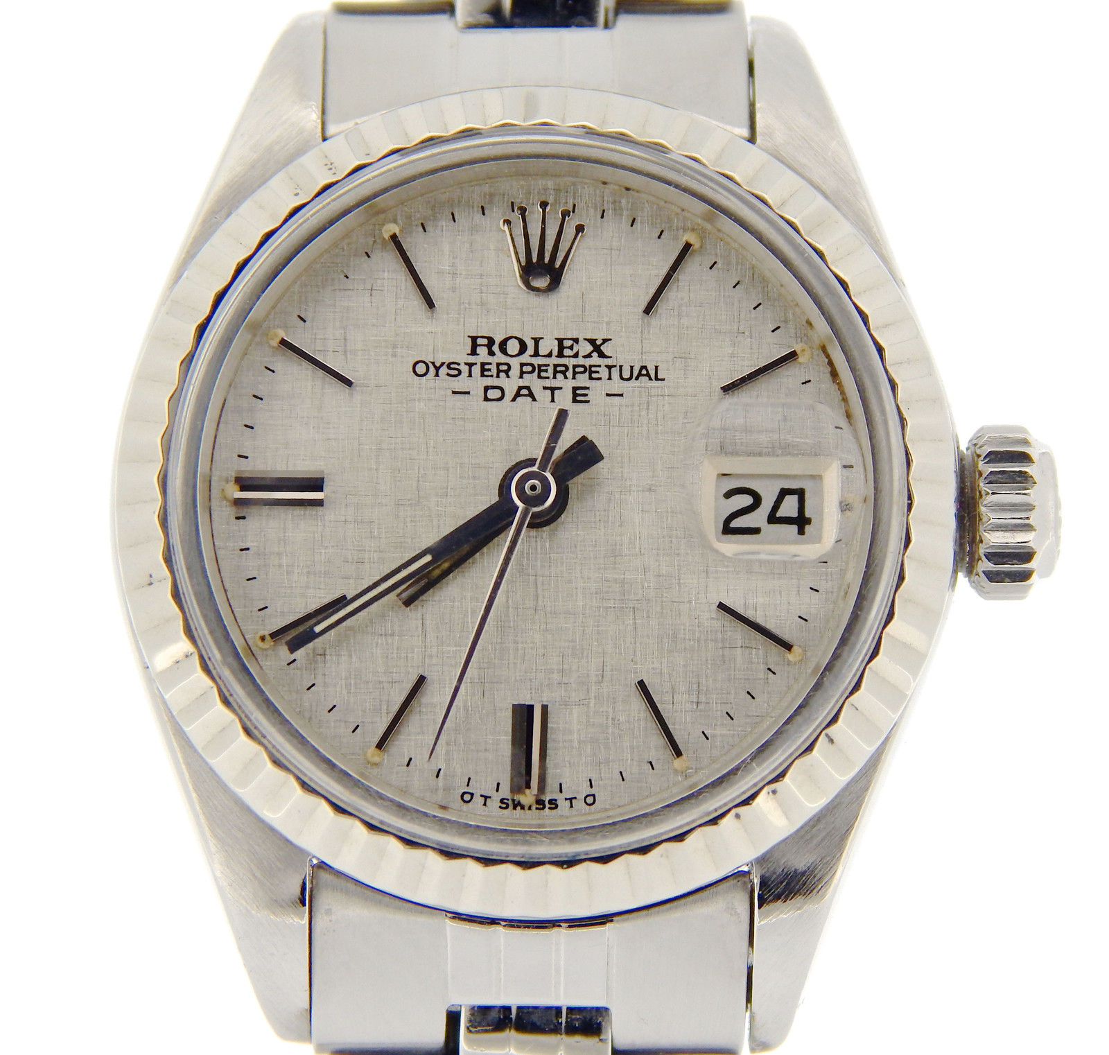 """Image of """"Rolex Date 6917 Stainless Steel & 18K White Gold Watch Jubilee Silver"""""""