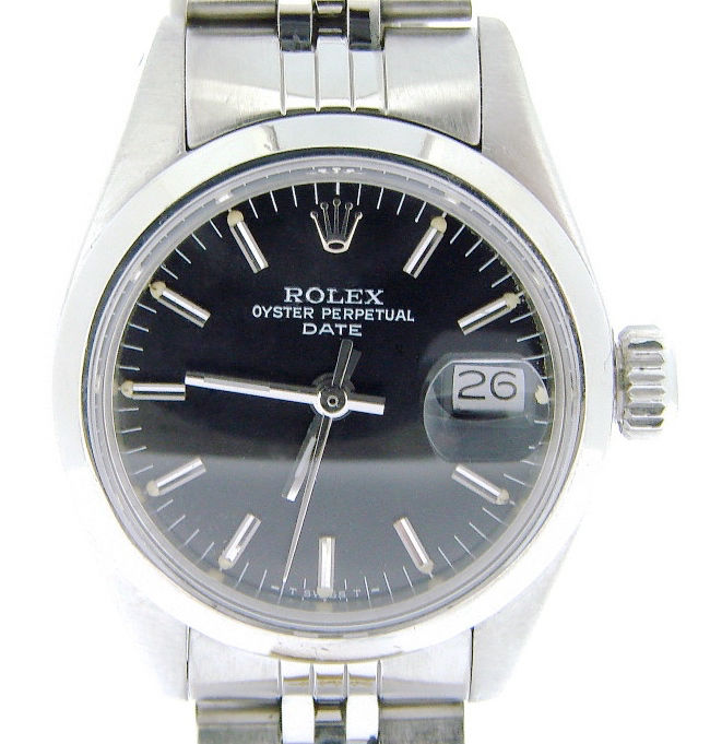 "Image of ""Rolex Date 6916 Stainless Steel Watch Domed Bezel Jubilee Band Black"""