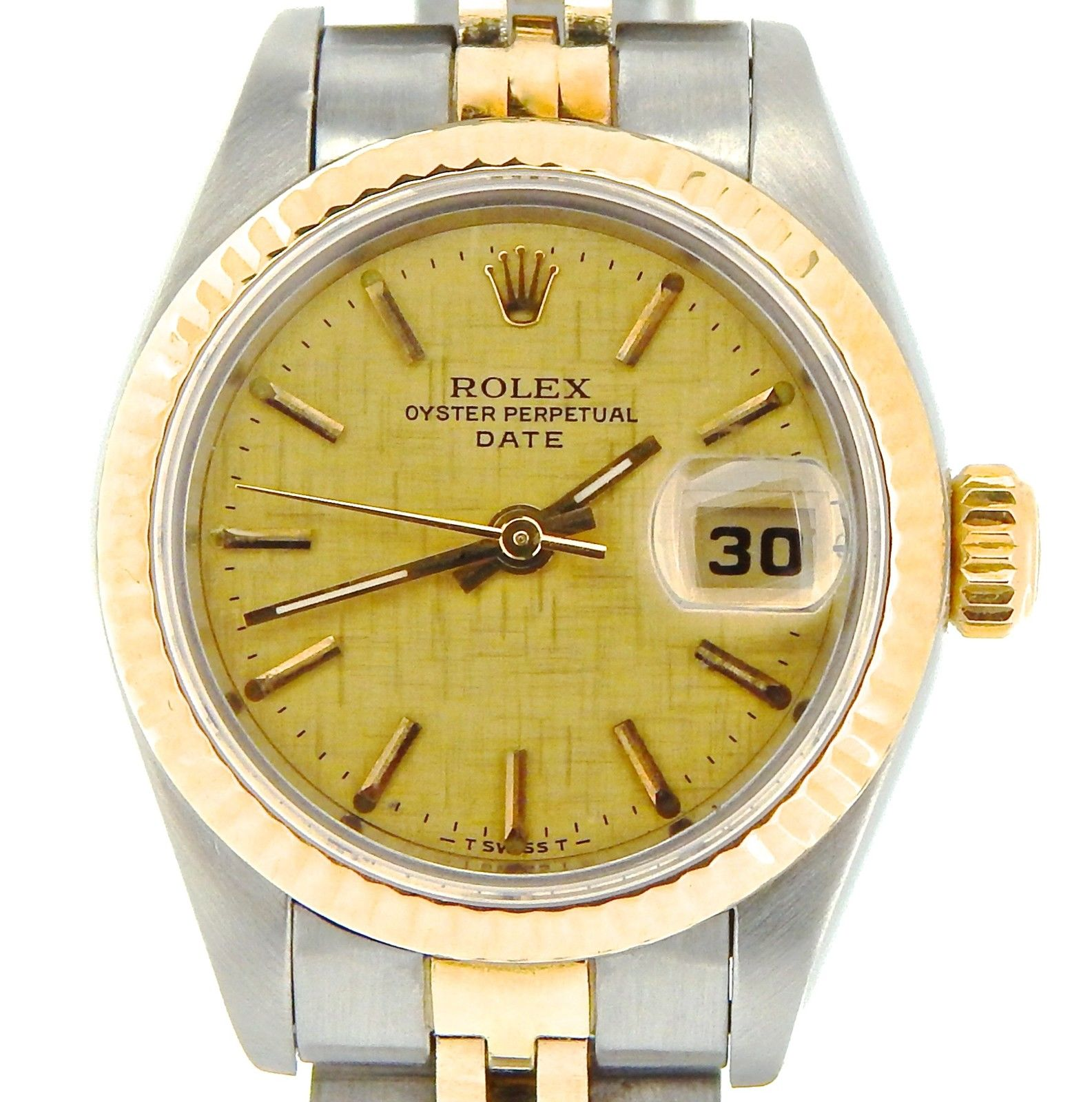 """Image of """"Rolex Date 69173 Two Tone 18K Yellow Gold & Steel With Linen Dial"""""""