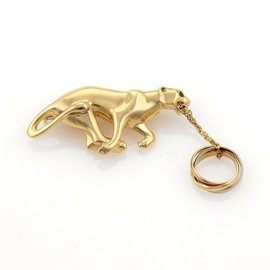 Cartier Panther 18K Yellow Gold & 0.02ct Emerald Brooch