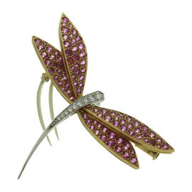 Van Cleef & Arpels 18k Yellow & White Gold Diamond Pink Sapphire Dragonfly Small Brooch