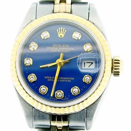 Rolex Datejust 6917 Two Tone 14K Yellow Gold & Stainless Steel With Blue Diamond Dial Womens Watch