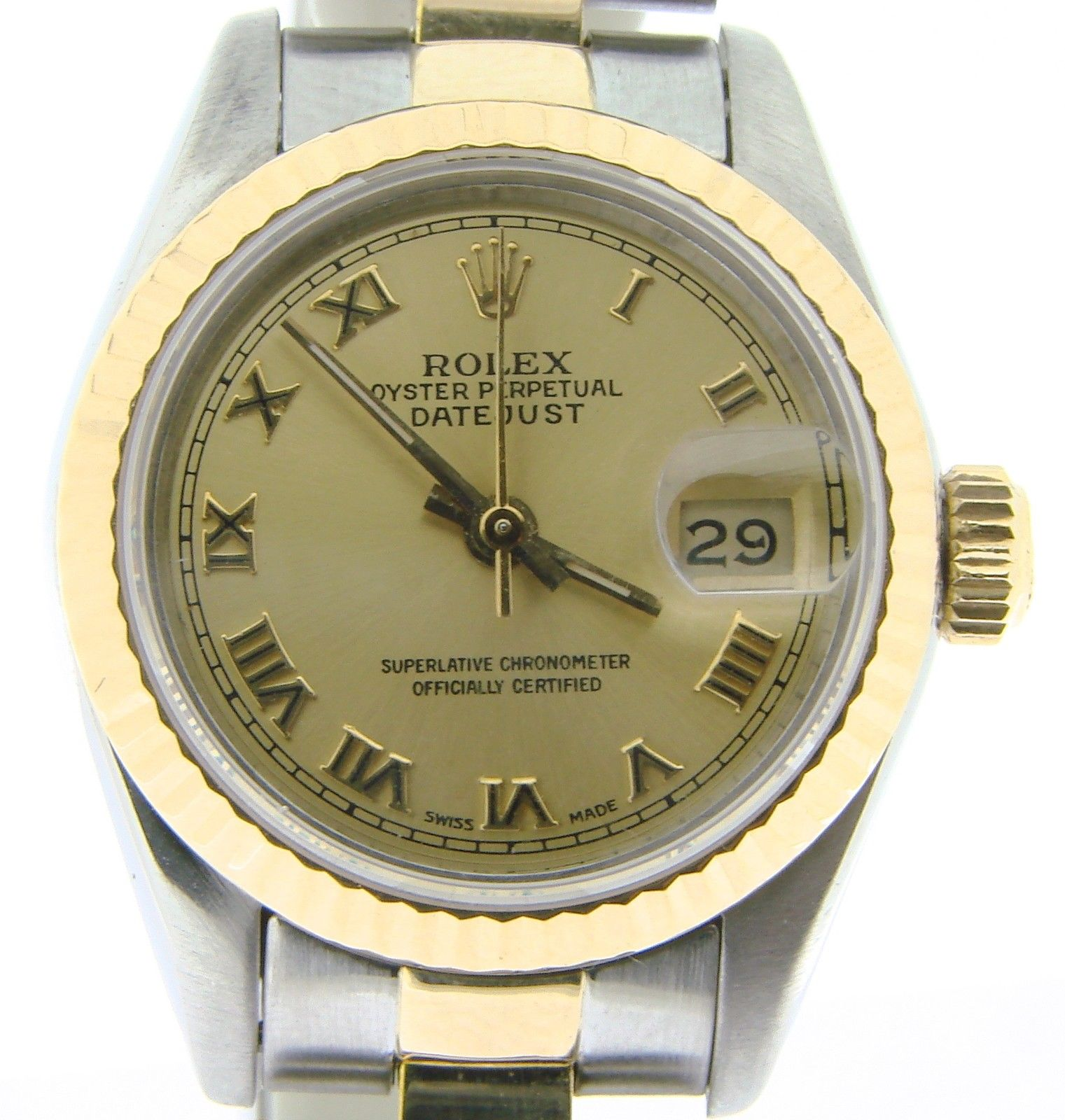 """Image of """"Rolex Datejust 69173 Two Tone 18K Yellow Gold & Stainless Steel Womens"""""""