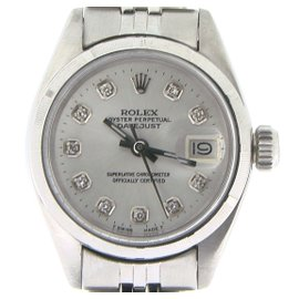Rolex Datejust Stainless Steel Jubilee Bracelet Silver Diamond Dial Womens Watch