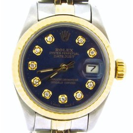 Rolex Datejust 6917 Two Tone 14K Yellow Gold & Stainless Steel With Blue Diamond Dial Womens Watch 6917