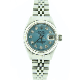 Rolex Datejust 6917 Stainless Steel & 18K White Gold With Blue Mother Of Pearl Diamond Dial Womens Watch