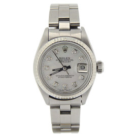 Rolex Datejust 6917 Stainless Steel & 18K White Gold White Mother Of Pearl Diamond Dial 26mm Watch