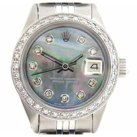 Rolex Datejust 6916 Stainless Steel With Tahitian Mother of Pearl Diamond Womens Watch
