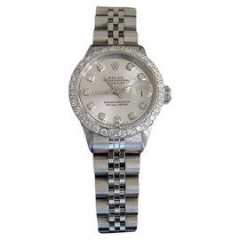 Rolex Datejust 6517 Stainless Steel Silver Diamond Dial & Bezel Vintage Womens Watch