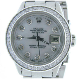 Rolex Datejust 6917 Stainless Steel With White Mother Of Pearl Diamond Dial Womens Watch