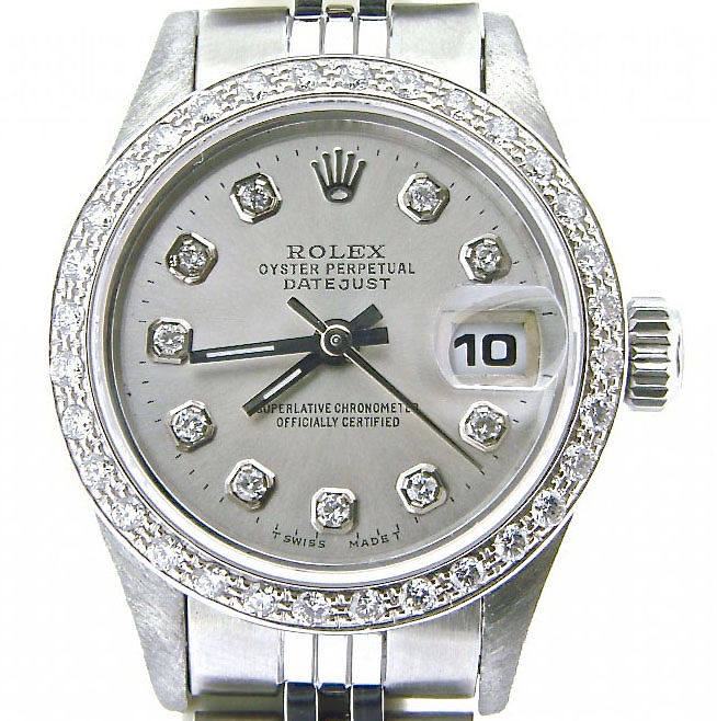"""Image of """"Rolex Datejust 69174 Stainless Steel Sapphire With Silver Diamond Dial"""""""