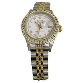 Rolex Date 18K Yellow Gold & Stainless Steel Womens Watch