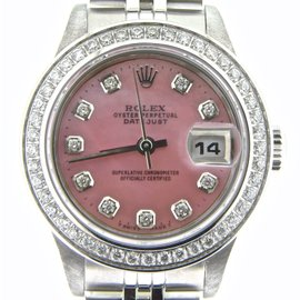 Rolex Datejust Stainless Steel With Pink Mother Of Pearl Diamond Womens Watch