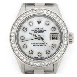 Rolex Datejust 6916 Stainless Steel With White Mother Of Peal Diamond Dial Womens Watch