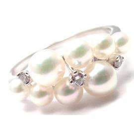 Mikimoto 18K White Gold Diamond Pearl Ring Size 6