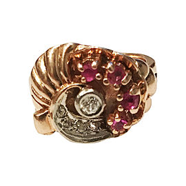 14K Rose Gold Ruby Diamond Ring Size 5.5