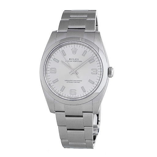 """Image of """"Rolex 114200Saso Oyster Perpetual 34 Silver Dial Stainless Steel Watch"""""""