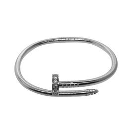 Cartier Juste Un Clou 18K White Gold & Diamonds Bracelet Size 17