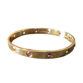 Cartier 18K Yellow Gold Love Bracelet with Gemstones Size 17