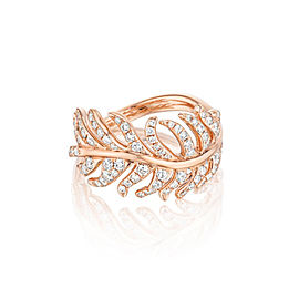 18K Gold Phoenix Feather Center Pave Diamond Ring