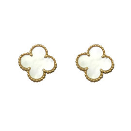 Van Cleef and Arpels Alhambra Yellow Gold & Mother of Pearl Earrings