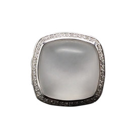 David Yurman 925 Sterling Silver with Moon Quartz and Diamonds Albion Ring Size 7