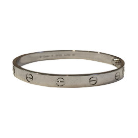 Cartier 18K White Gold Love New Screw System Bracelet Size 18