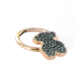 Tous Rose Gold Plated 925 Sterling Silver w/ Spinels Bear Ring Size 7