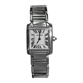 Cartier Tank Francaise w5001253 18K White Gold Womens 20mm Watch