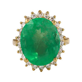 12.00 Carats Natural Emerald and Diamond 14K Solid Yellow Gold Ring Size 7