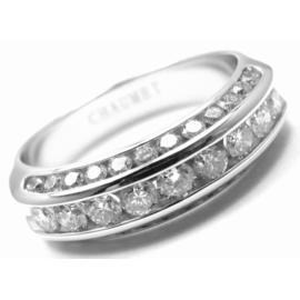 Chaumet 18K White Gold 1.00 Ct Diamond Band Ring Size 7.5