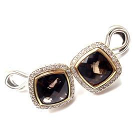 David Yurman Albion Sterling Silver and 18k Yellow Gold 0.47 Ct Diamond Smoky Quartz Earrings