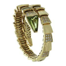 Bulgari 18K Yellow Gold Serpenti Demi Pave Diamond Peridot Bracelet