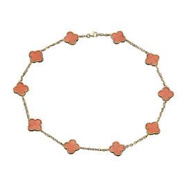 Van Cleef & Arpels Vintage Alhambra 18K Yellow Gold Coral 10 Motif Necklace