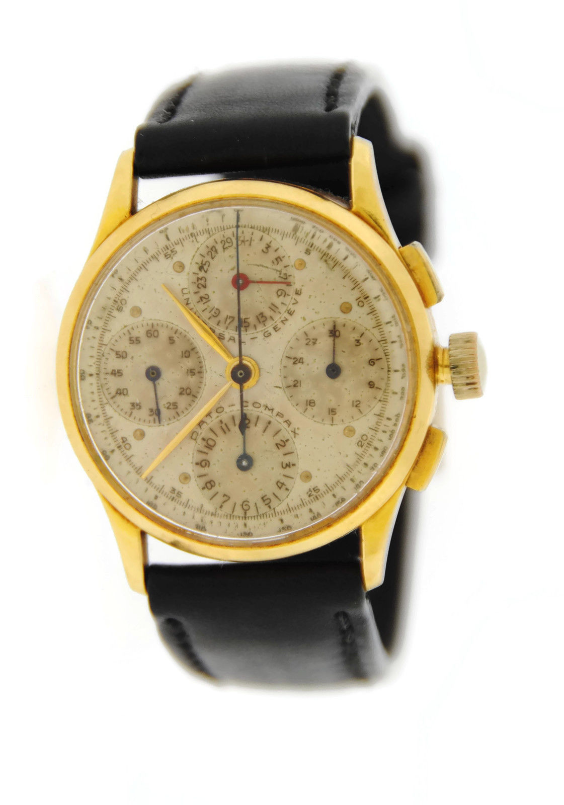 "Image of ""Vintage Universal Geneve Dato Compax 12495 18K Yellow Gold & Leather"""