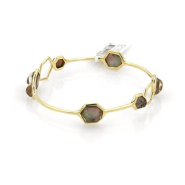 Ippolita Rock Candy 18k Yellow Gold Black Shell 7 Stone Bangle Bracelet